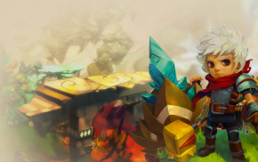 Bastion, oil painting, colorful, video games, The Kid