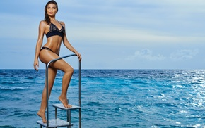 brunette, girl, sea, girl outdoors, bikini, Daniela Lopez Osorio