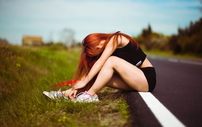shorts, girl, sitting, long hair, depth of field, model