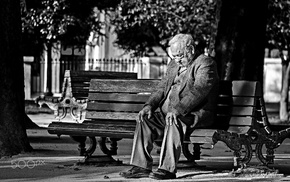 men, bench, old people, monochrome, photography, people