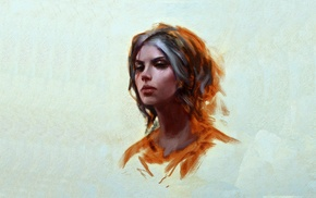 The Witcher 3 Wild Hunt, artwork, The Witcher, simple background, simple, Cirilla Fiona Elen Riannon