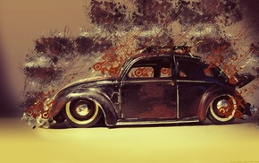 artwork, car, old car, lines, digital art, Volkswagen