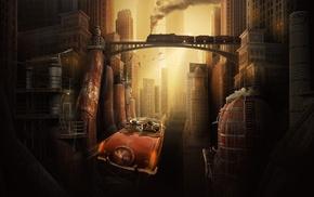 digital art, couple, sunlight, old car, skyscraper, flying