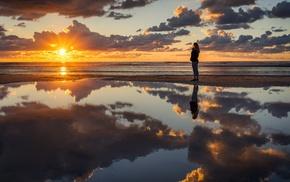 clouds, coast, reflection, people, photography, sunrise