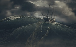 dark, waves, digital art, storm, fangs, ship
