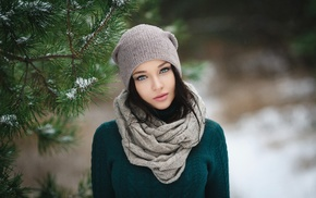 brunette, model, face, scarf, Denis Petrov, blue eyes