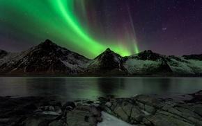 aurorae, mountains, nature