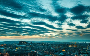 Scotland, city, clouds, cityscape, street, Edinburgh
