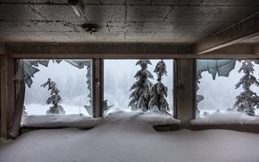 abandoned, winter, broken glass, snow, ruin