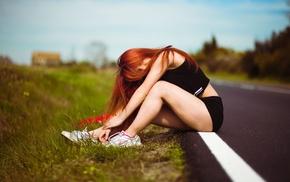 legs, Nike, shorts, long hair, girl outdoors, sitting