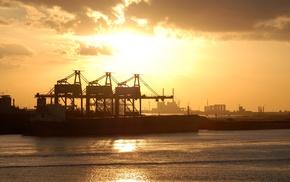 industrial, sea, harbor, cranes machine, ship, ports