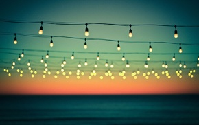 sea, photography, depth of field, dusk, light bulb, water