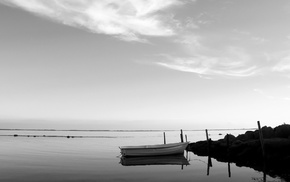 reflection, sea, boat, monochrome, photography, water