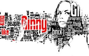 typographic portraits, simple background, text