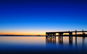 dusk, reflection, photography, water, pier