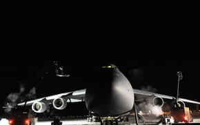 winter, military base, frost, US Air Force, airplane, night