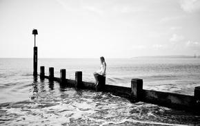 girl, sea, monochrome, photography, beach, water