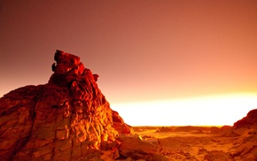 photography, rock, landscape, sunset, desert, orange