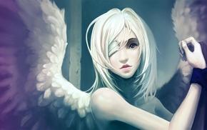 angel, eye patch, angel wings