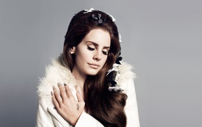 singer, simple background, girl, Lana Del Rey, brunette, eyeliner