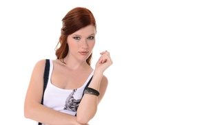 redhead, hazel eyes, freckles, Mia Sollis, simple background, girl