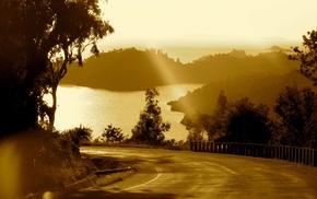 road, photography, nature, coast, sun rays, landscape