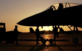 sunset, aircraft, military base, F15 Eagle, military aircraft, jet fighter