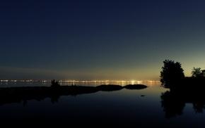 night, photography, plants, lights, nature, coast