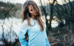 shirt, brunette, girl, girl outdoors, depth of field, Domi Starostik