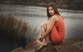 girl outdoors, dress, girl, Jeanne Khudyakov, riverside, face