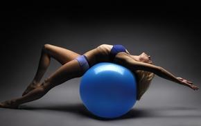 girl, fitness model, ball, stretching, sports bra, barefoot