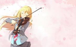 Shigatsu wa Kimi no Uso, Miyazono Kaori, anime, musical instrument, anime girls, violin