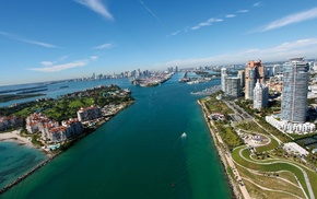 urban, water, city, Miami, photography, building