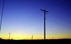 utility pole, landscape, dusk, photography