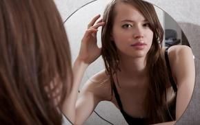girl, juicy lips, Demida, mirror, looking at viewer