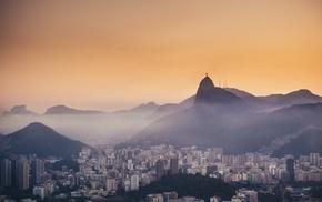 cityscape, mist, city, Rio de Janeiro, Christ the Redeemer