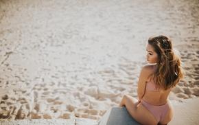 Vivian Chau, model, looking away, sand, sitting, girl