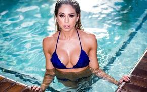 bikini, water, model, swimming pool, wet hair, wet body