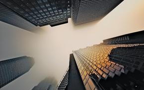 skyscraper, mist, urban