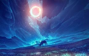 fantasy art, sun rays, deer
