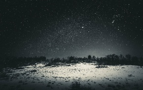 stars, night, landscape, dark, snow, sky