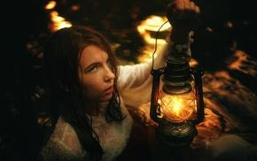 girl, fantasy art, lantern