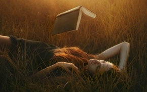 introvert, lying on back, grass, redhead, books, floating