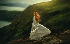 mountains, blonde, girl outdoors, redhead, white dress, dress