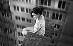 model, girl, monochrome, rooftops, depth of field