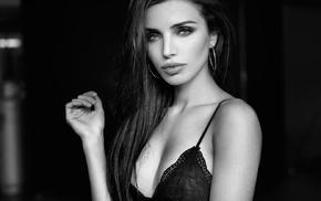 juicy lips, girl, sideboob, portrait, black bras, smoky eyes
