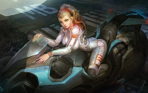 anime, ponytail, futuristic, girl, motorcycle
