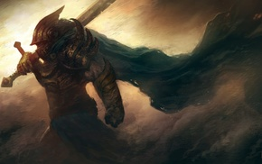 fantasy art, storm, wind, sword, armor, cape