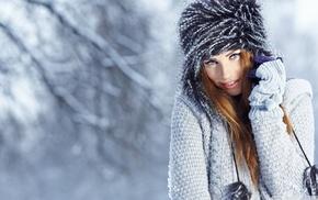 gloves, winter, green eyes, snow