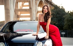 brunette, red dress, car, big boobs, curly hair, juicy lips